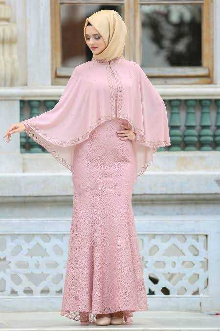 En Şık Tesettür İsland Pelerinli Abiye Elbise Modelleri