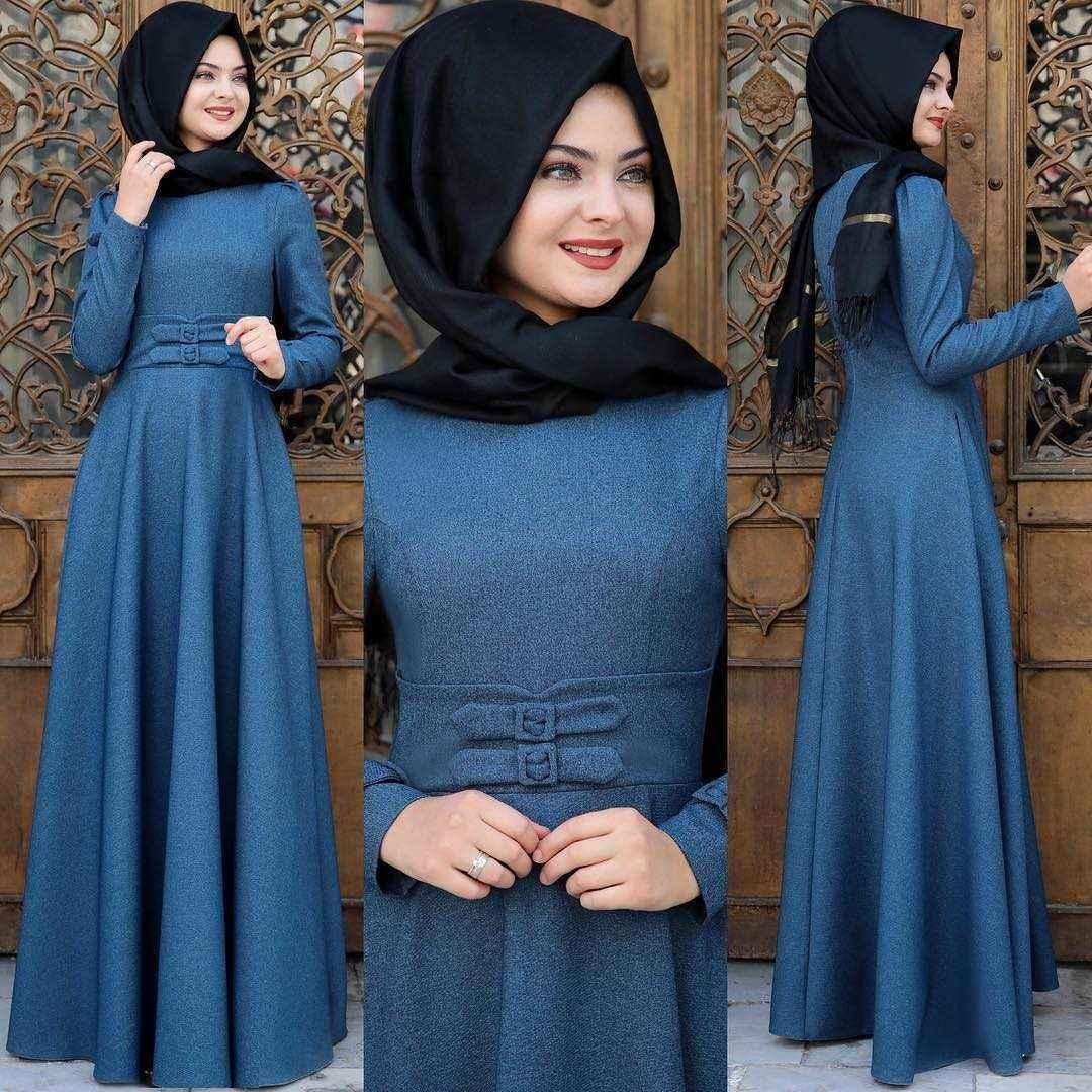 En Güzel Pınar Şems Korsajlı Tesettür Elbise Modelleri