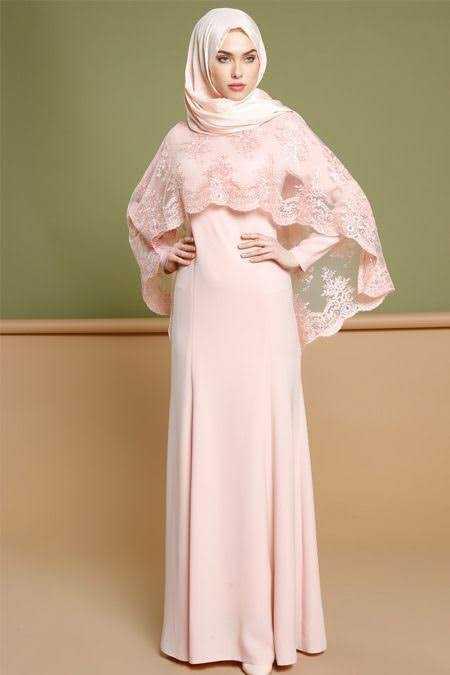 En Güzel Pelerinli Tesettür Abiye Elbise Modelleri