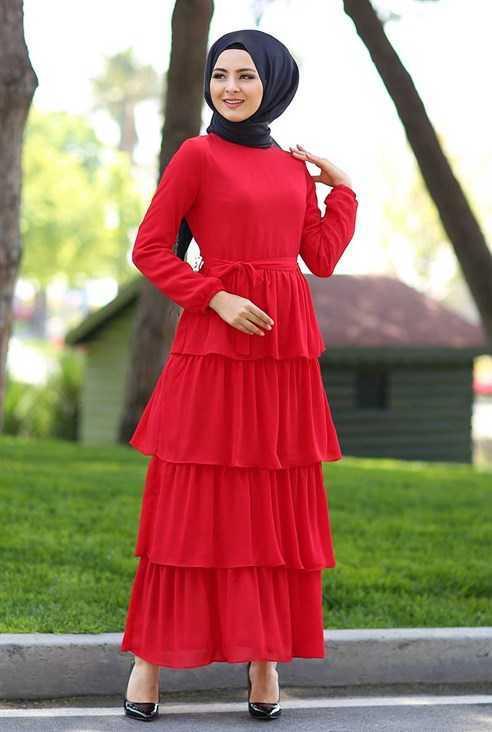 Eylül Tesettür Kırmızı Elbise Modelleri