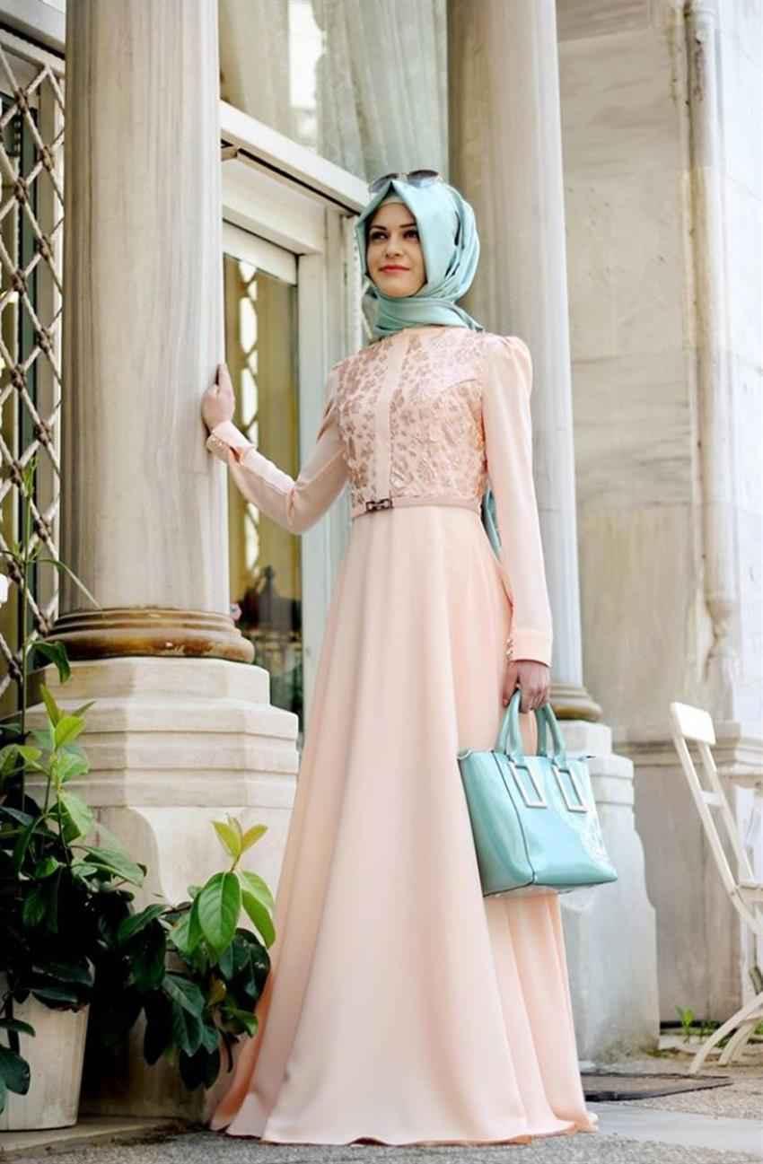 Gamze Polat Tesettür Somon Renk Kıyafet Modası