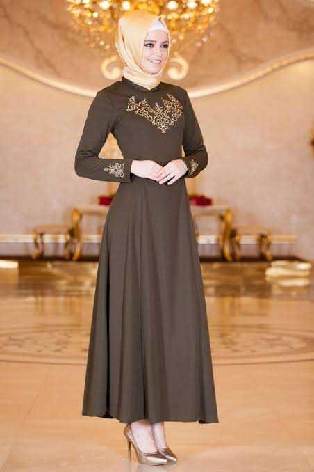 Gold Dantelli Sedanur Tesettür Abiye Elbise Modelleri