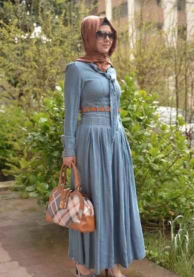 Korsajlı Tesettür Kot Elbise Modelleri