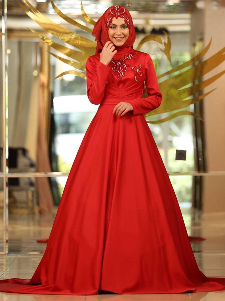 Minel Aşk Tesettür Kırmızı Abiye Elbise Modelleri