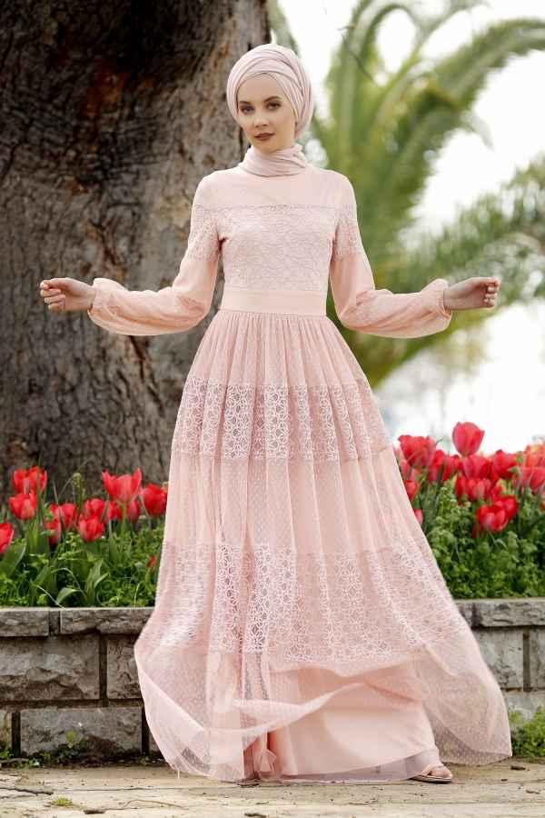 Minel Aşk Tesettür Somon Renk Kıyafet Modası