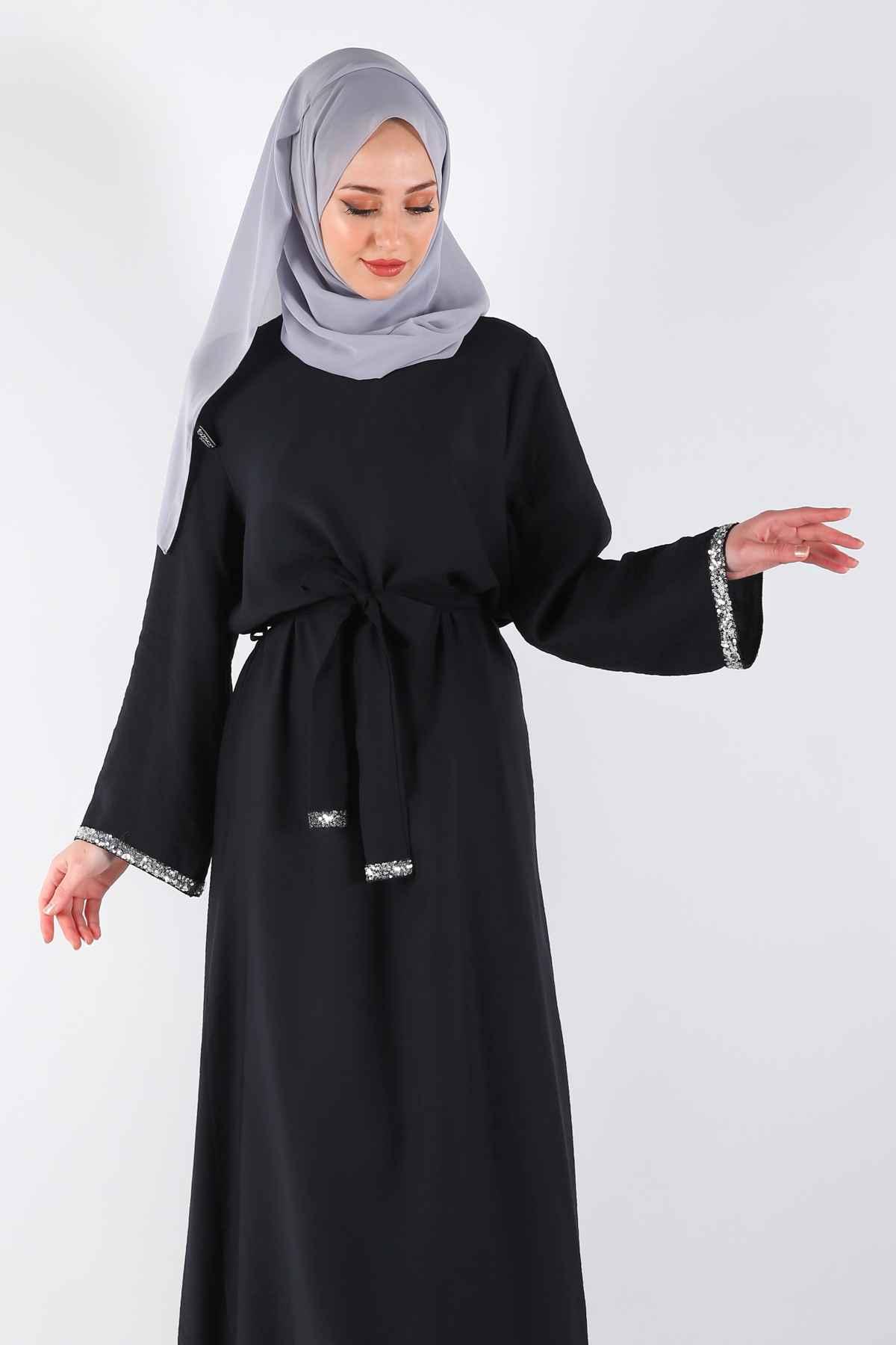 Moda Sima Kuşaklı Tesettür Elbise Modelleri