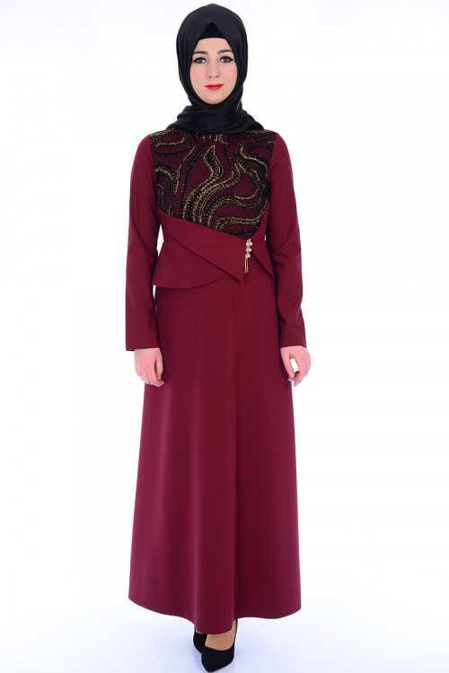 Modahira Broşlu Tesettür Abiye Elbise Modelleri