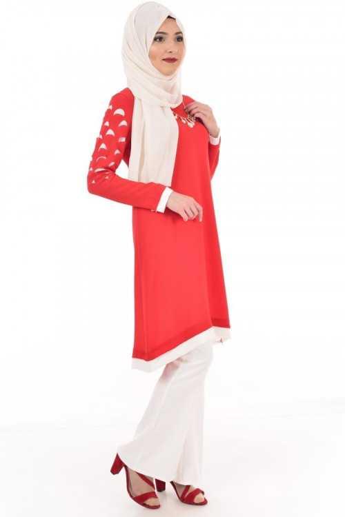 Modahira Tesettür Kırmızı Tunik Modelleri