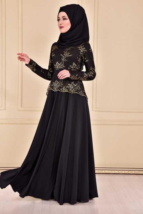 Modahira Varaklı Tesettür Abiye Elbise Modelleri