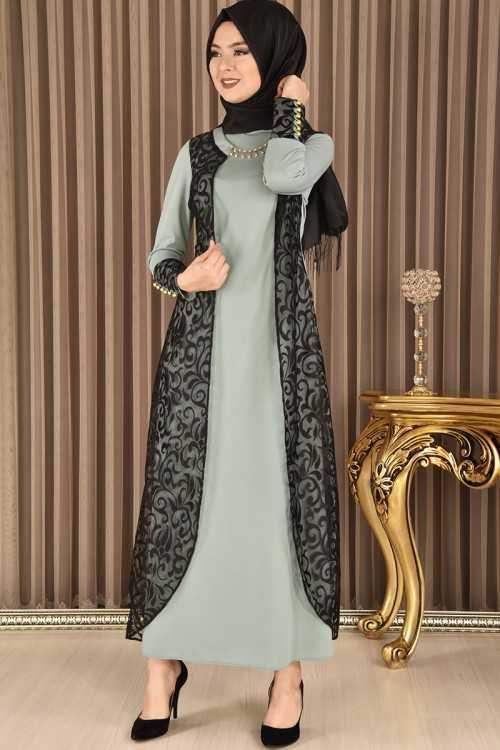 Modamerve Şık Broşlu Tesettür Elbise Modelleri