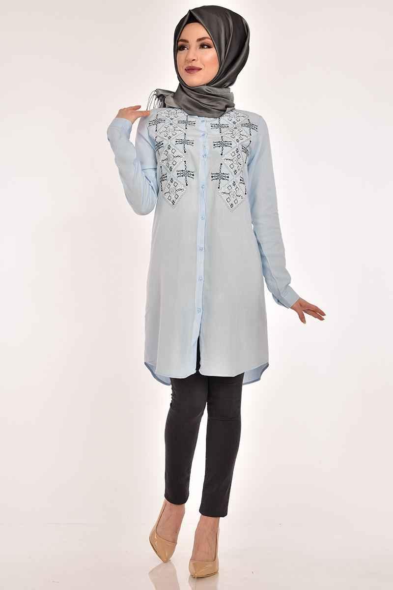 Modamerve Baklava Desen Taş İşlemeli Tesettür Tunik Modelleri