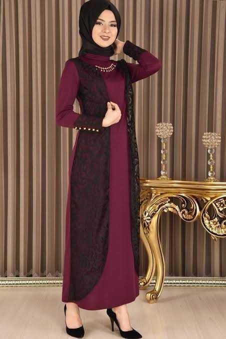 Modamerve Broşlu Tesettür Elbise Modelleri