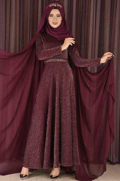 Modamerve Pelerinli Simli Tesettür Abiye Elbise Modelleri