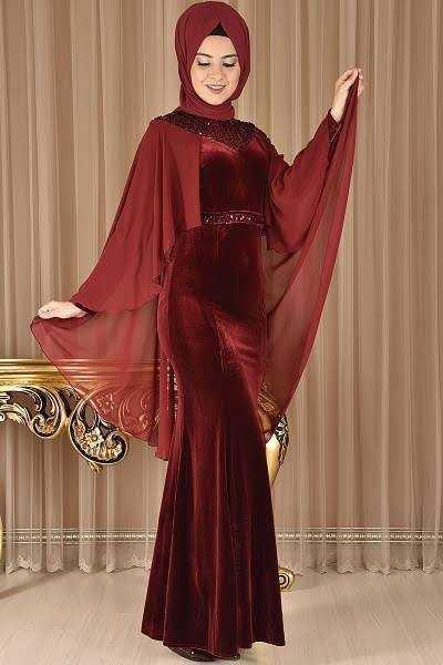 Modamerve Pelerinli Tesettür Kadife Abiye Elbise Modelleri