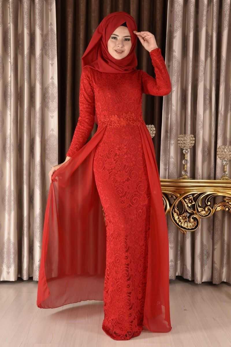 Modamerve Tesettür Kırmızı Renk Abiye Modelleri