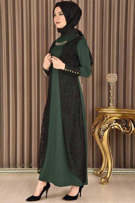 Modamerve Yakma Dantelli Broşlu Tesettür Elbise Modelleri