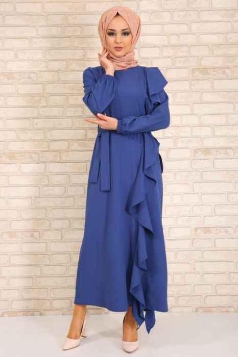 Modanoiva Kuşaklı Fırfırlı Tesettür Elbise Modelleri
