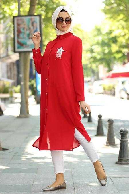 Nayla Collection Tesettür Kırmızı Tunik Modelleri