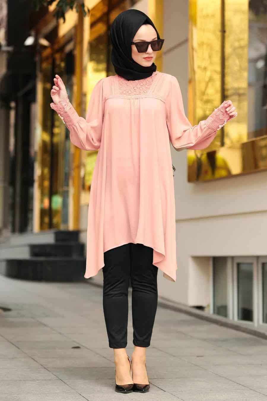 Nayla Collection Tesettür Somon Renk Tunik Modası