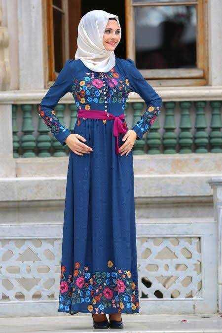 Neva Style Günlük Çiçekli Tesettür Elbise Modelleri