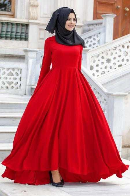 Neva Style Tesettür Kırmızı Elbise Modelleri