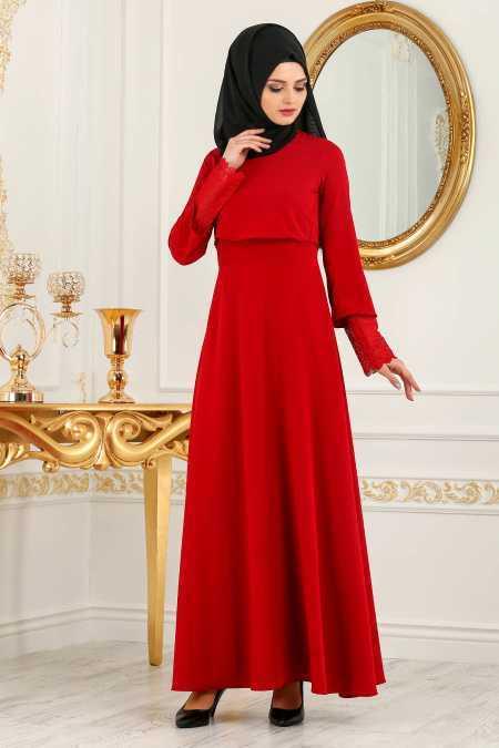 New Kenza Tesettür Kırmızı Elbise Modelleri