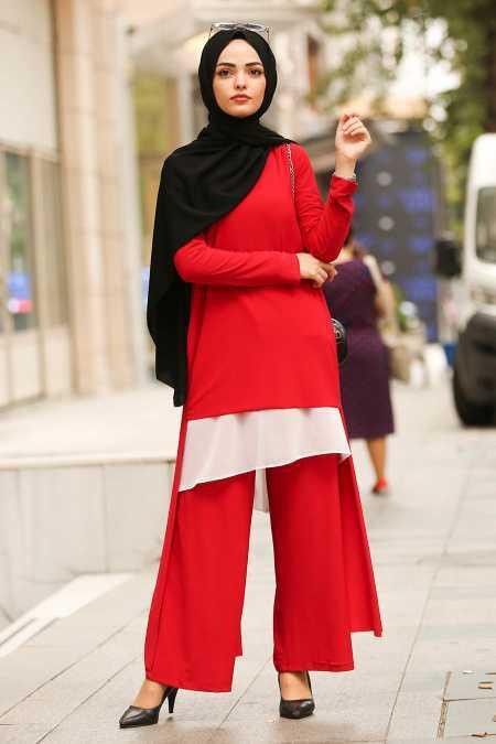 New Kenza Tesettür Kırmızı Takım Modelleri