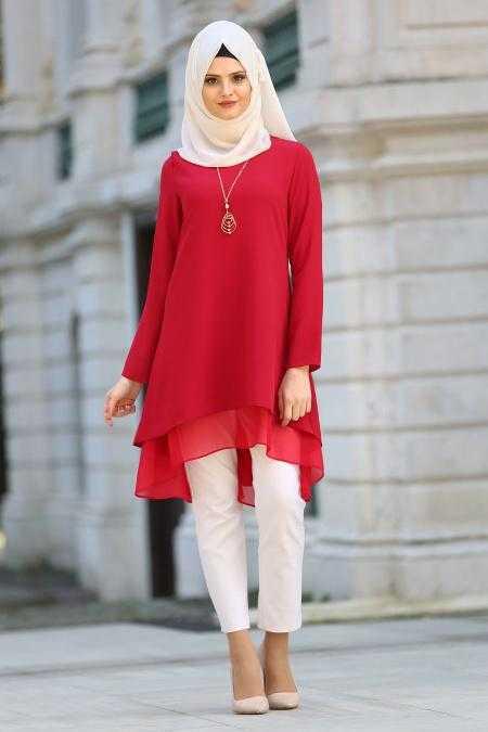 New Kenza Tesettür Kırmızı Tunik Modelleri