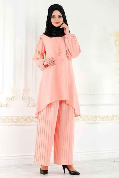 New Kenza Tesettür Somon Renk Takım Modası