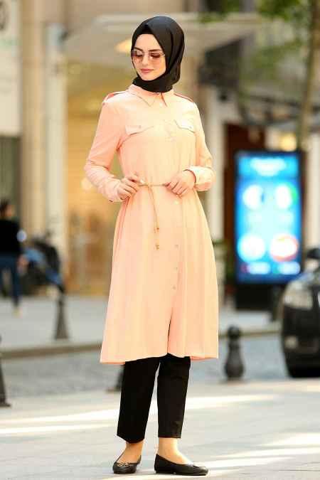 New Kenza Tesettür Somon Renk Tunik Modası