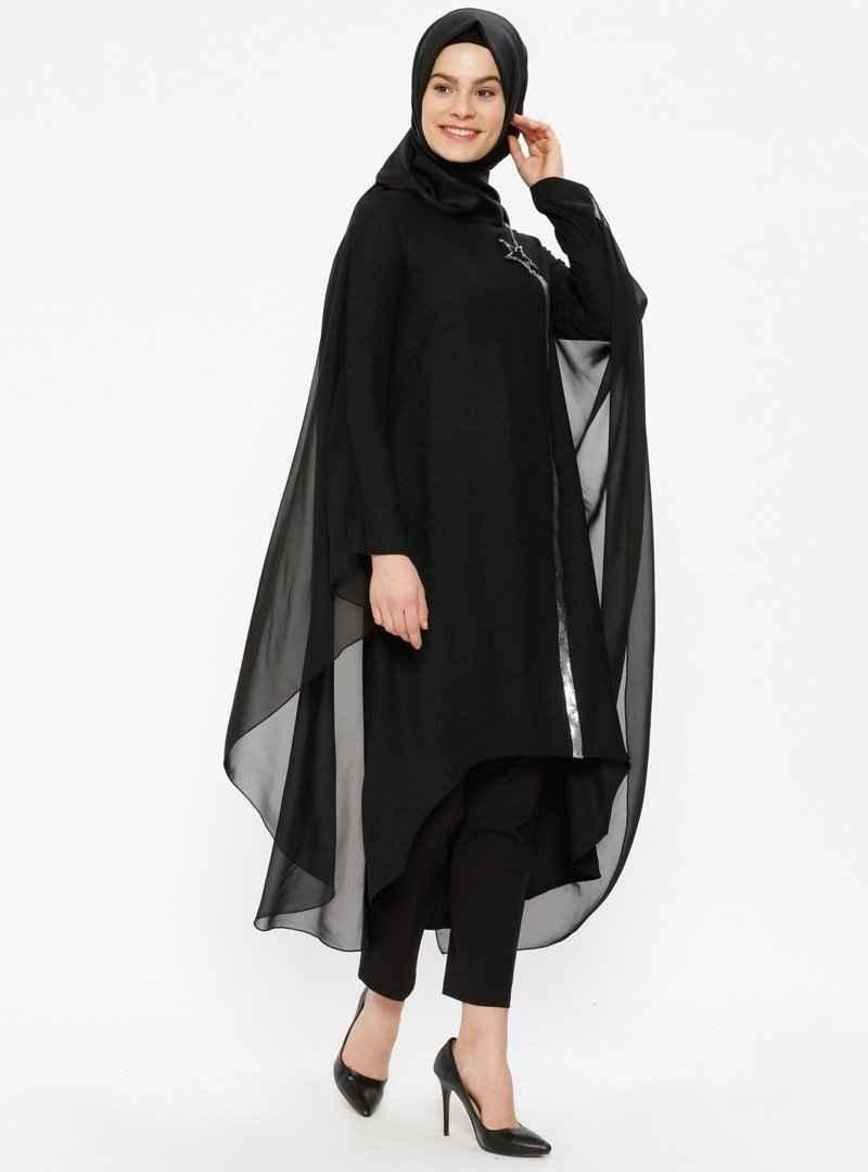 Nihan Taş İşlemeli Siyah Tesettür Tunik Modelleri