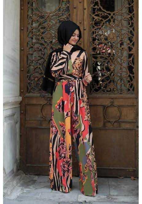 Pınar Şems Desenli Tesettür Tulum Modelleri