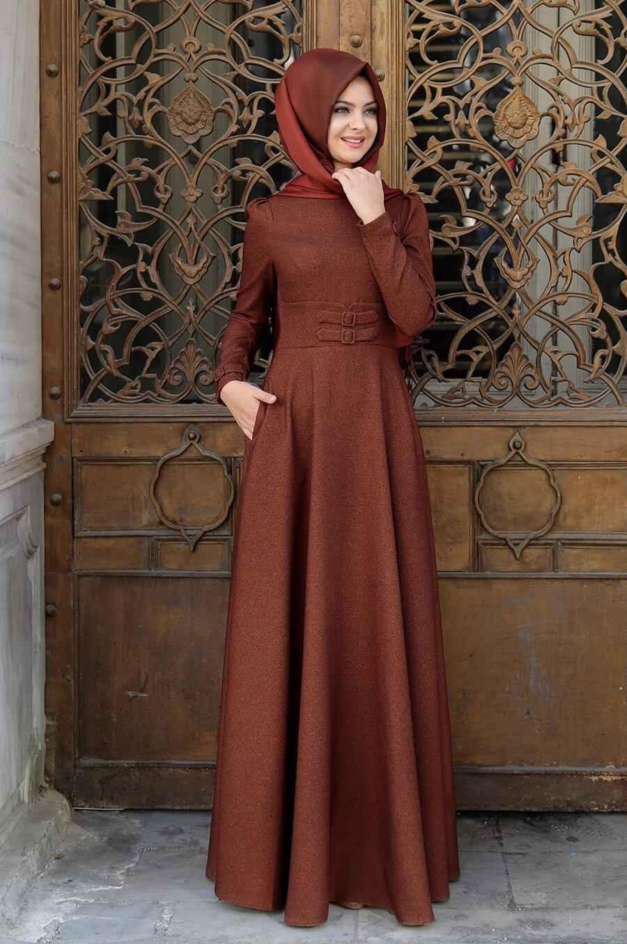 Pınar Şems Korsajlı Tesettür Elbise Modelleri