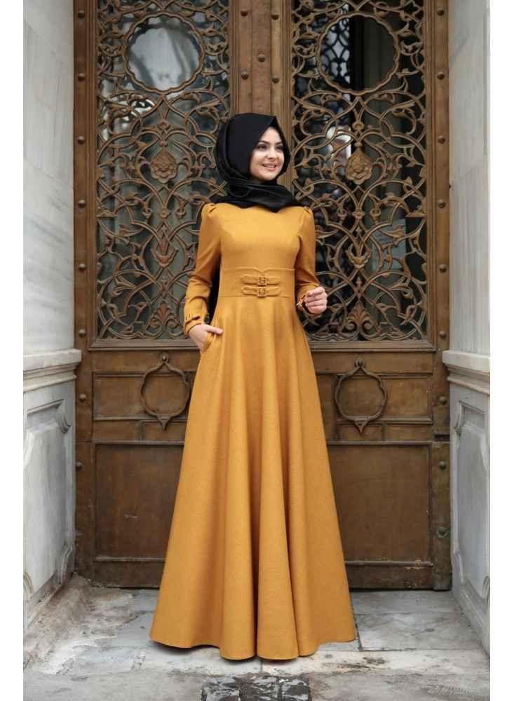 Pınar Şems Korsajlı Tesettür Hardal Elbise Modelleri