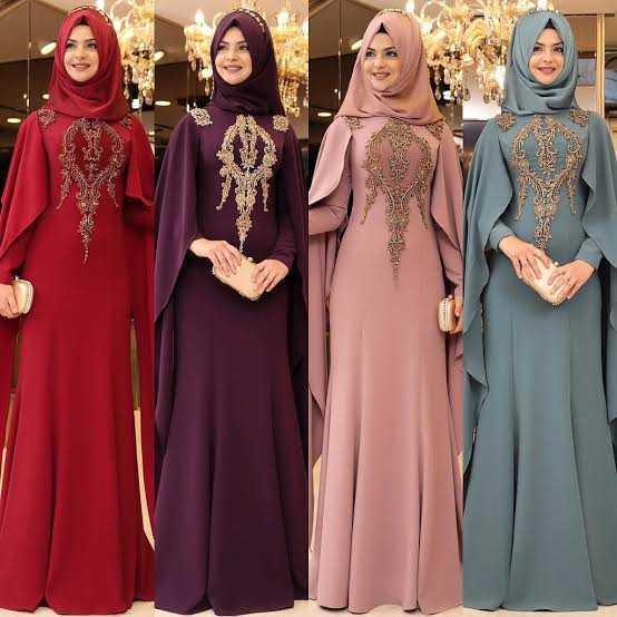 Pınar Şems Pelerinli Tesettür Abiye Elbise Modelleri