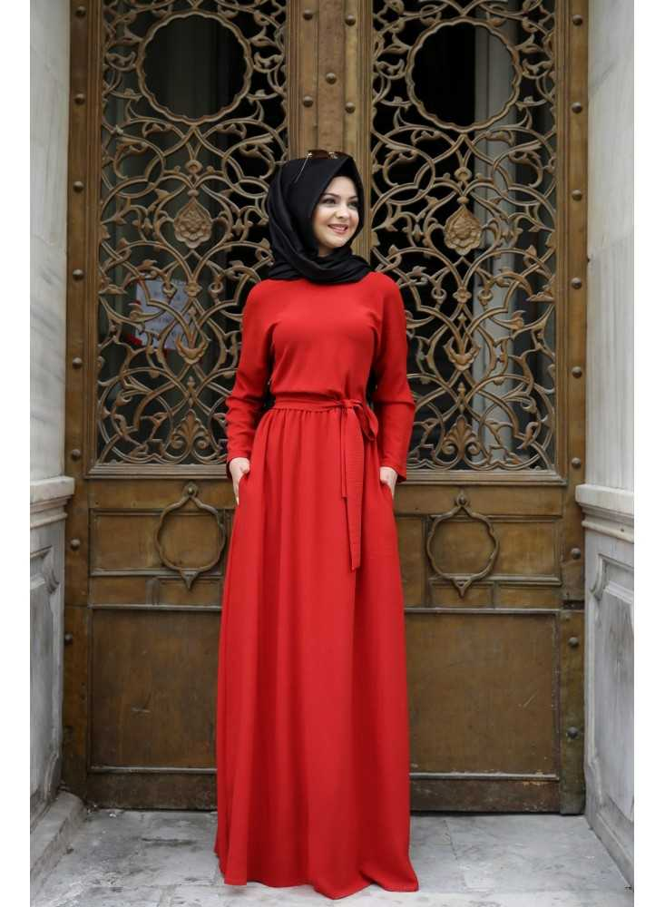Pınar Şems Tesettür Kırmızı Elbise Modelleri