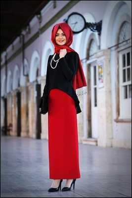 Pınar Şems Tesettür Kırmızı Etek Modelleri