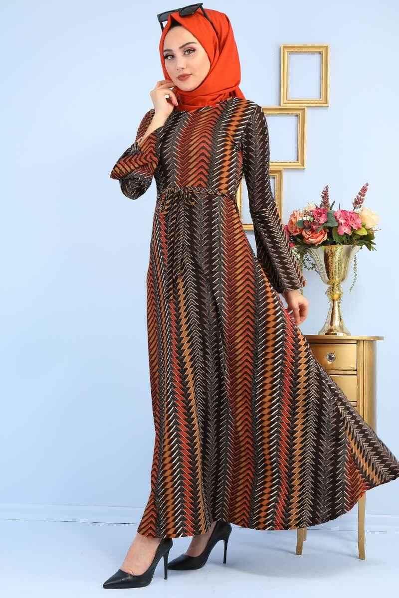 Pazaium Kuşaklı Desenli Elbise Modelleri