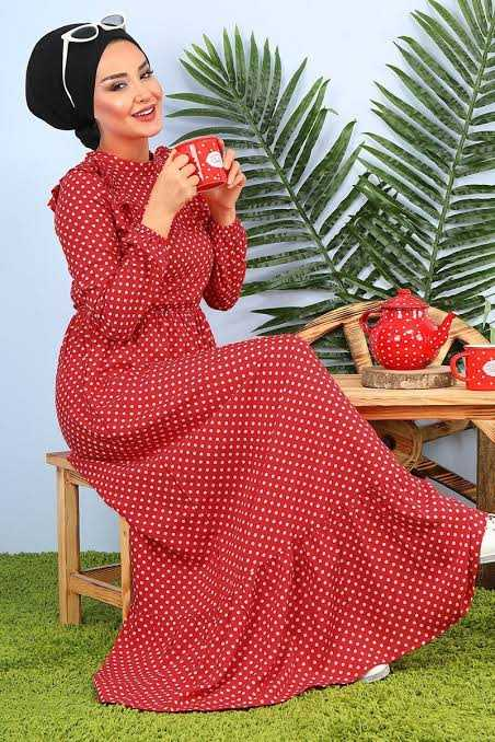 Pazarium Tesettür Kırmızı Elbise Modelleri