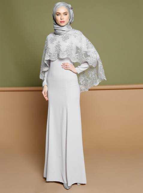 Puane Pelerinli Tesettür Abiye Elbise Modelleri