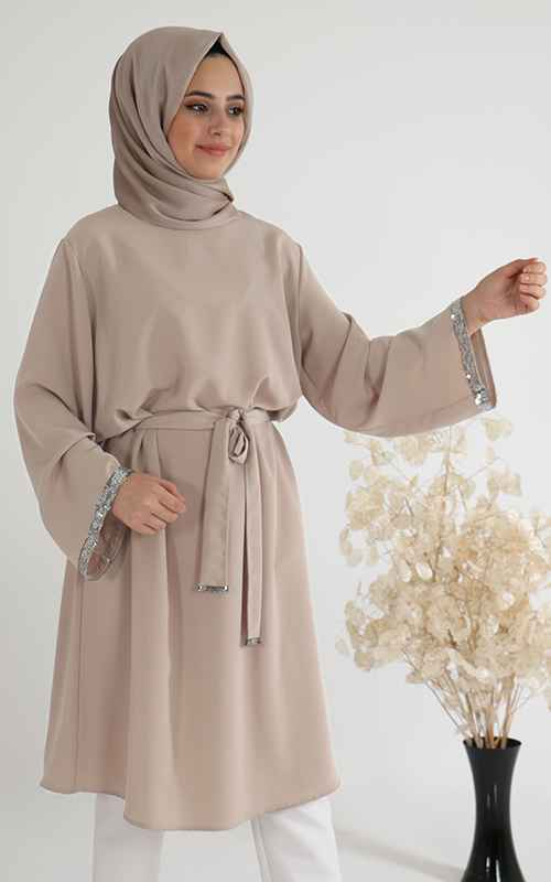 Sahranur Taş İşlemeli Tesettür Tunik Modelleri
