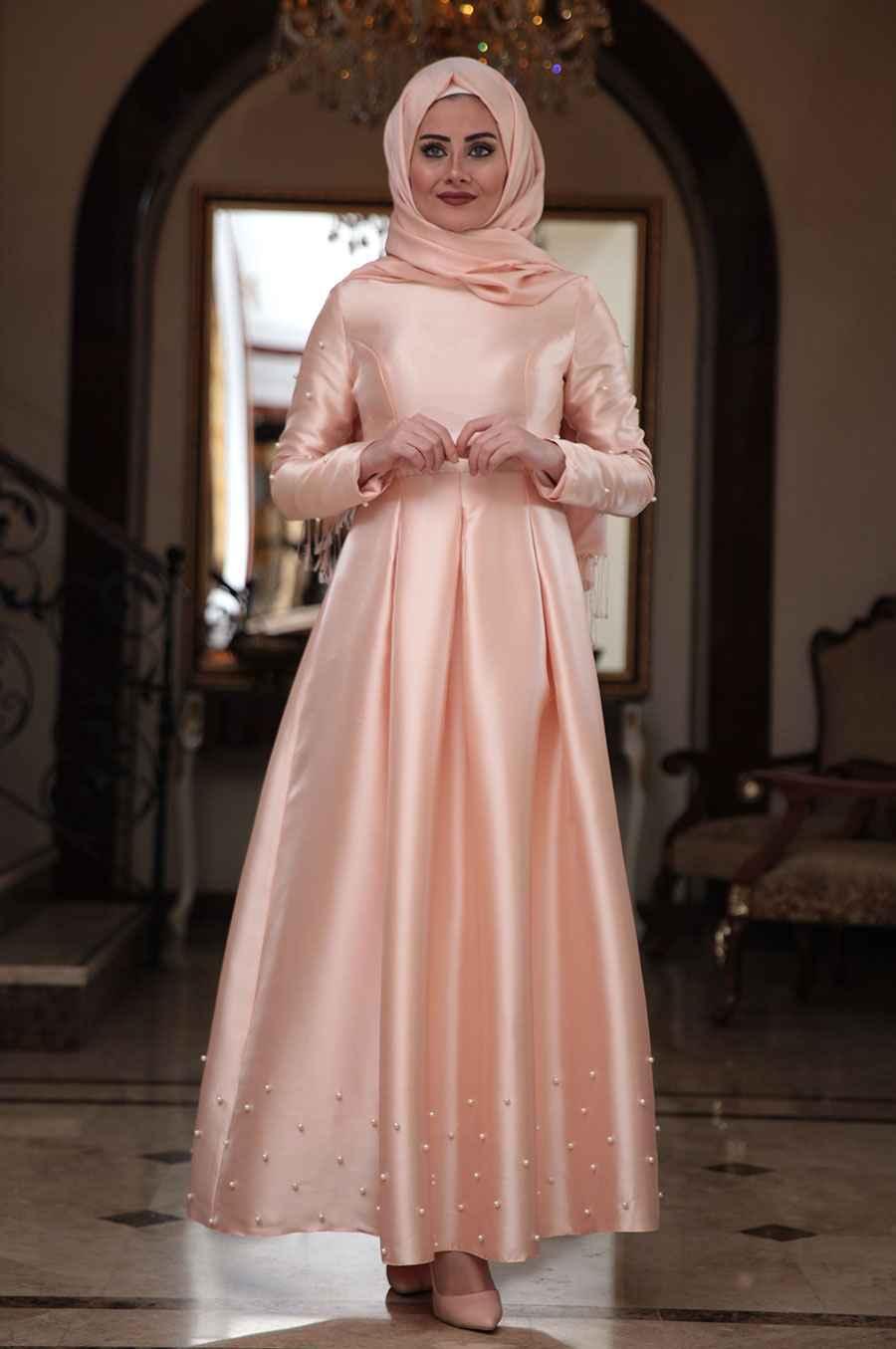 Seda Tiryaki Tesettür Somon Renk Abiye Modası