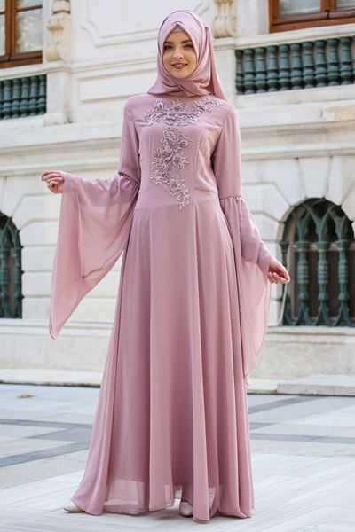 Sedanur İşlemeli Tesettür Abiye Elbise Modelleri