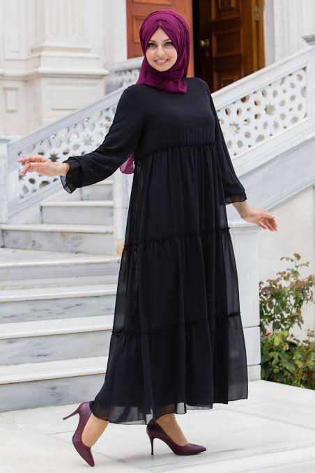 Sedanur Günlük Siyah Tesettür Elbise Modelleri