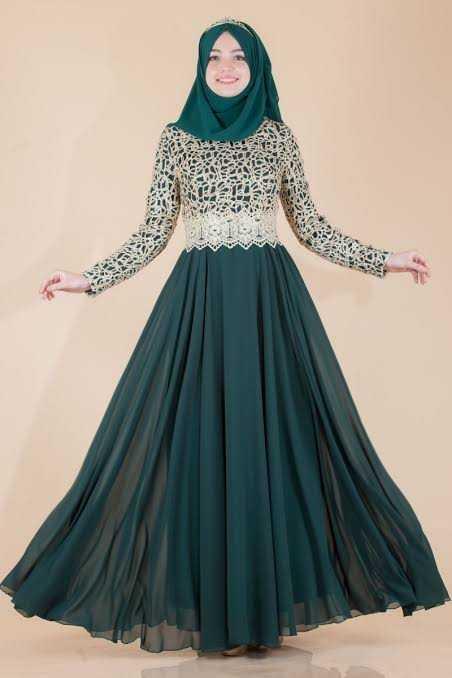 Sedanur Gold Dantelli Tesettür Abiye Elbise Modelleri