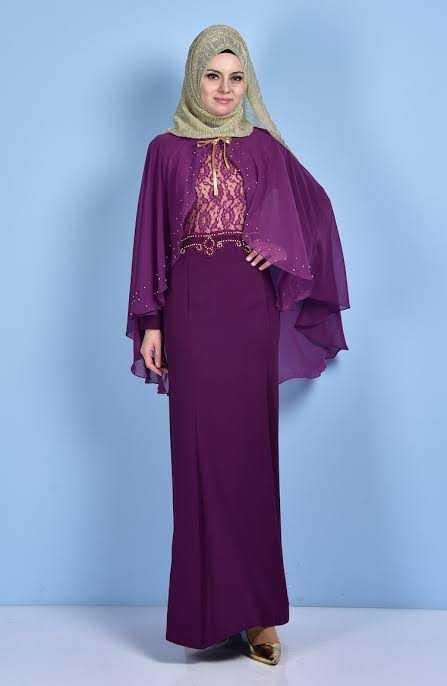 Sedanur Pelerinli İşlemeli Tesettür Abiye Elbise Modelleri