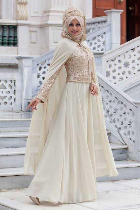 Sedanur Pelerinli Tesettür Abiye Elbise Modelleri