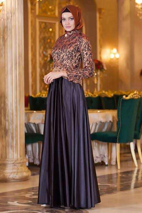 Sedanur Tesettür Kolyeli Şık Abiye Elbise Modelleri
