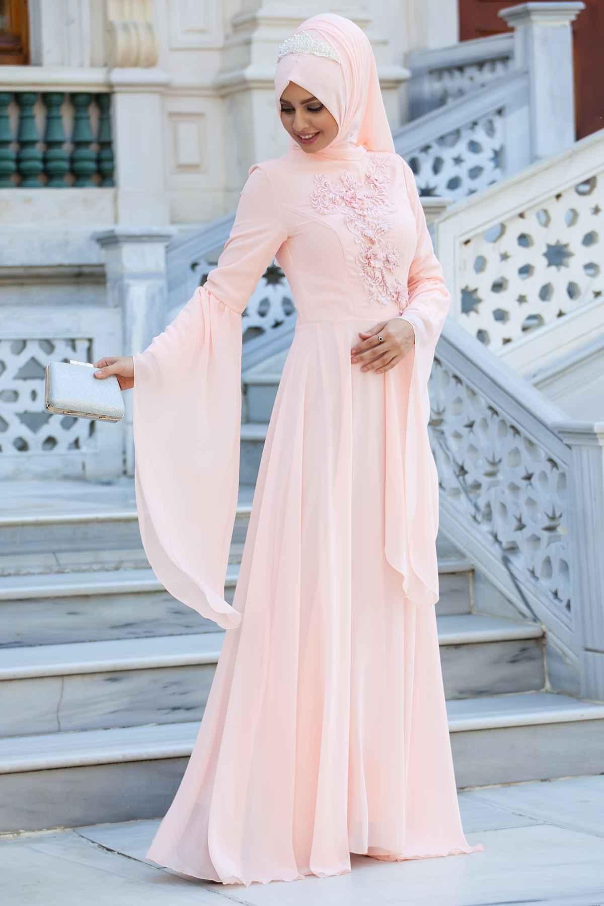 Sedanur Tesettür Somon Renk Abiye Modası