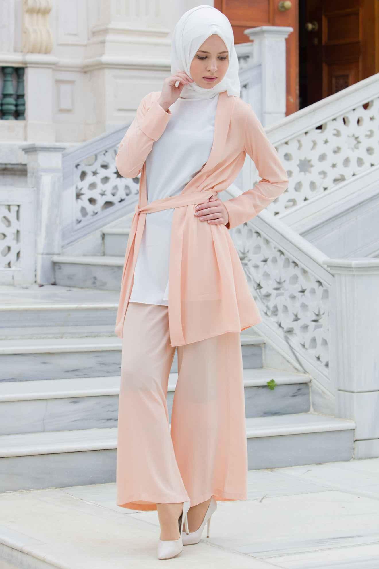 Tesettür Somon Renk Kıyafet Modası